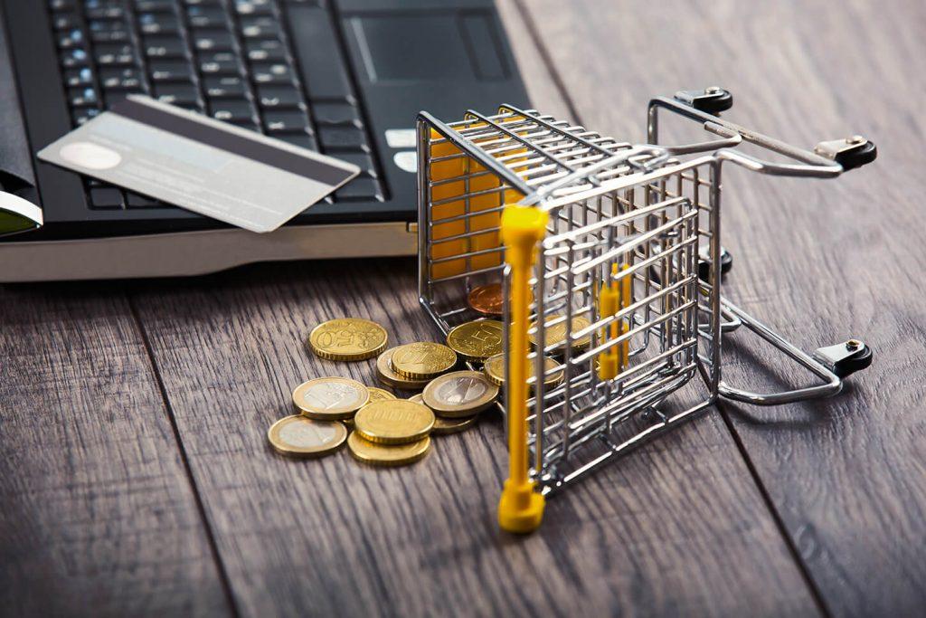 carrinho de e-commerce caído