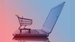 carrinho de compras no computador para indicar e-commerce